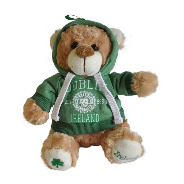 Custom promotional baby plush bear doll toy with hooded top