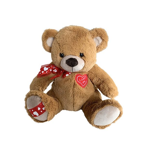 Custom plush brown teddy bear toys with a small heart